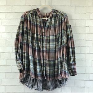 Free People Come on Over Oversized Plaid Top XS